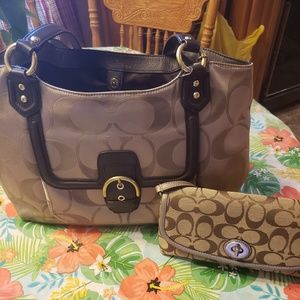 Authentic Signature Coach Carry All Bag and Wallet